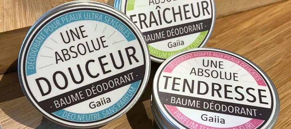 les trois déodorants crème Gaiia