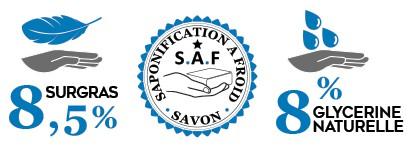 Savon saponifié à froid bénéficiant de 8,5% de surgras et de 8% de glycérine naturelle végétale.